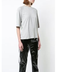 Tibi - Gray Gathered Back T-shirt - Lyst