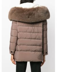 Peuterey - Gray Fur Hood Trim Puffer Jacket - Lyst