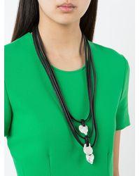 Monies - Black Tri Pendant Necklace - Lyst