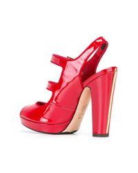 Alexander McQueen - Red Double Buckle Sandals - Lyst