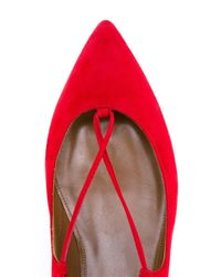 Aquazzura - Red Christy Lace-Up Suede Ballet Flats - Lyst