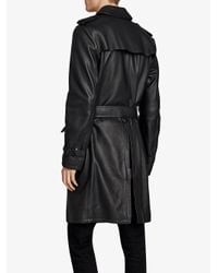 Burberry - Black Leather Trench Coat for Men - Lyst