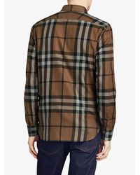 Burberry - Brown Checked Flannel Shirt for Men - Lyst