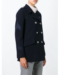 Lardini - Blue Double Breasted Coat - Lyst