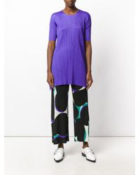 Pleats Please Issey Miyake - Purple Pleated Texture Elongated T-shirt - Lyst