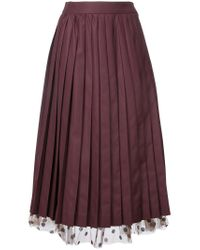 MUVEIL | Red Under-layer Pleat Skirt | Lyst