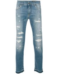 Dolce & Gabbana - Blue Distressed Jeans for Men - Lyst