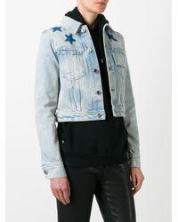 Givenchy - Blue Star Print Bleached Denim Jacket - Lyst