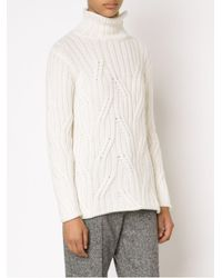 Loro Piana - White Cable Knit Turtle Neck Sweater - Lyst