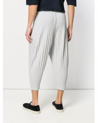 Homme Plissé Issey Miyake - Gray Ribbed Effect Trousers for Men - Lyst