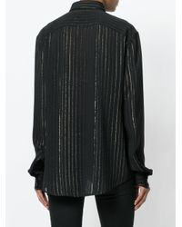 Saint Laurent - Black Sheer Striped Shirt - Lyst