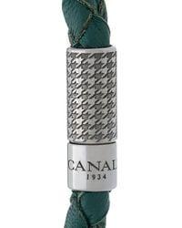 Canali Green Woven Bracelet for men