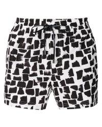 Dolce & Gabbana White Drawstring Fitted Swim Shorts for men