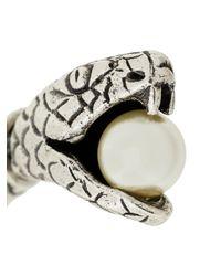 Saint Laurent - Metallic Snake Pearl Earrings - Lyst