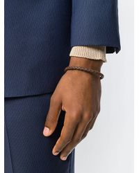 Canali - Brown Logo Plaque Woven Bracelet for Men - Lyst