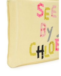 See By Chloé - Yellow Logo Print Makeup Bag - Lyst