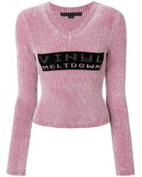 Alexander Wang - Pink 'vinyl Meltdown' Jacquard Cropped Chenille Sweater - Lyst
