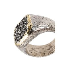 Tobias Wistisen - Metallic Grain Effect Chevalière Ring for Men - Lyst