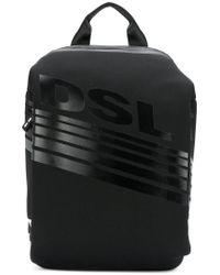 DIESEL - Black Textured Logo Backpack for Men - Lyst