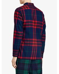 Burberry - Blue Check Flannel Shirt for Men - Lyst