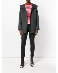 P.A.R.O.S.H. - Gray Hooded Zipped Up Coat - Lyst