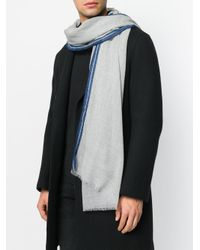 Dell'Oglio - Gray Woven Stripe Scarf for Men - Lyst