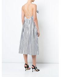 Adam Lippes - Black Ruched Striped Dress - Lyst