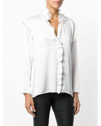 Nude - White Ruffle Trim Blouse - Lyst