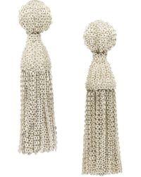 Oscar de la Renta - Natural Tassel Chain Earrings - Lyst