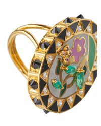 Holly Dyment - Metallic 18k Gold And Diamond Flower Ring - Lyst