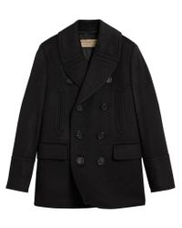 Burberry - Black Double Breasted Pea Coat for Men - Lyst
