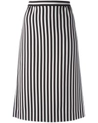 Marc Jacobs Black Monochrome Striped A-line Skirt