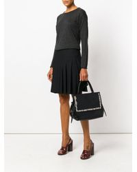 P.A.R.O.S.H. Black Tote Bag With Button Embellished Trim