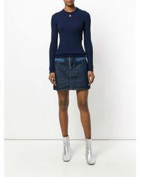 Courreges - Blue Slim-fit Ribbed Sweatshirt - Lyst