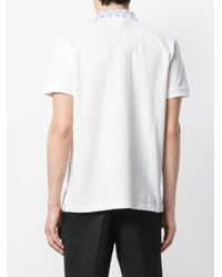 Billionaire - White Printed Ribbed Collar Polo for Men - Lyst