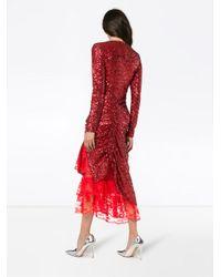Preen By Thornton Bregazzi - Mae Lace Insert Sequin Gathered Dress - Lyst