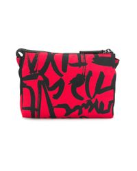 Versace - Red Logo Printed Wash Bag - Lyst
