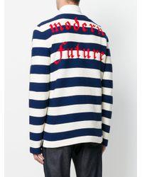 Gucci Blue Appliqué Striped Sweater for men