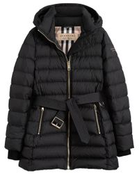 Burberry - Black Hooded Down-filled Puffer Jacket - Lyst