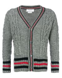 Thom Browne - Gray Aran Cable Knit Cardigan for Men - Lyst