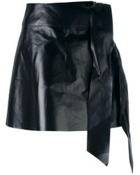Valentino - Black Tied Mini Skirt - Lyst