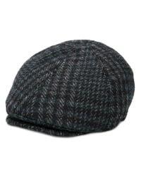 Corneliani - Black Checked Flat Cap for Men - Lyst