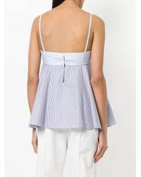 Carven - Blue Striped Peplum Cami - Lyst