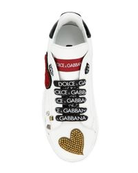 Dolce & Gabbana - White Queen Of Hearts Lace-up Trainers - Lyst