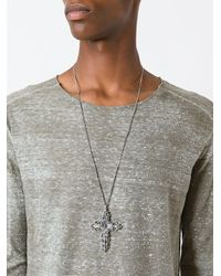 Emanuele Bicocchi - Metallic Cross Pendant Necklace for Men - Lyst