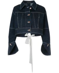 Comme Moi - Blue Denim Cropped Jacket - Lyst