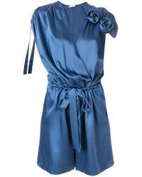 Lanvin - Blue Flower Appliqué Playsuit - Lyst