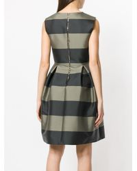 Rochas - Green Striped Flared Dress - Lyst