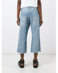 MM6 by Maison Martin Margiela - Blue Distressed Cropped Jeans - Lyst
