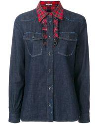 Miu Miu | Blue Tartan Trimmed Denim Shirt | Lyst